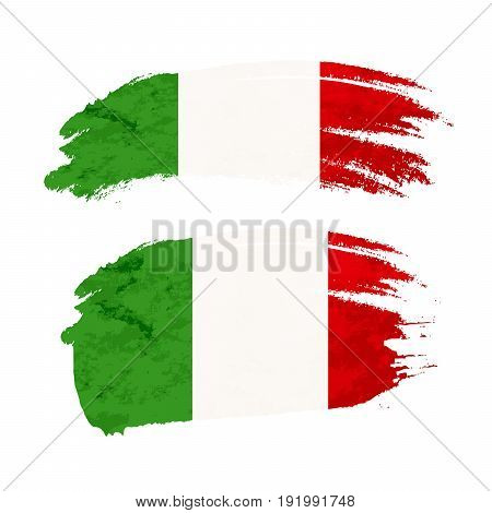 Grunge brush stroke with Italy national flag isolated on white
