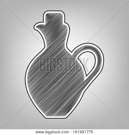Amphora sign illustration. Vector. Pencil sketch imitation. Dark gray scribble icon with dark gray outer contour at gray background.