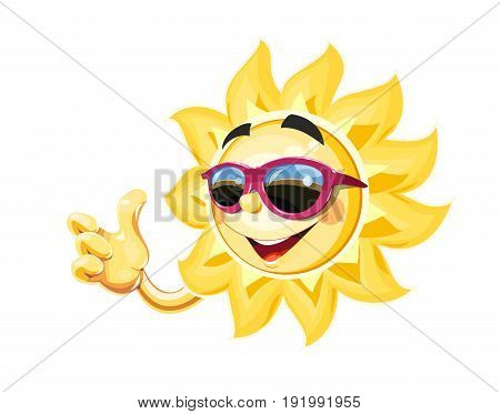 Smiling sun in sunglasses show okay. Cartoon character. Summertime simbol. Isolated white background. Vector illustration.