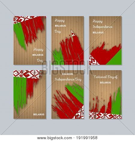 Belarus Patriotic Cards For National Day. Expressive Brush Stroke In National Flag Colors On Kraft P