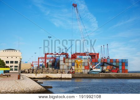 The forklift lifting and moving a large cargo container at a busy industrial port