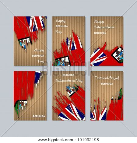 Bermuda Patriotic Cards For National Day. Expressive Brush Stroke In National Flag Colors On Kraft P
