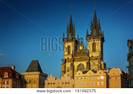 Church of Our Lady before Tyn at Old Town square in Prague, Czech Republic
