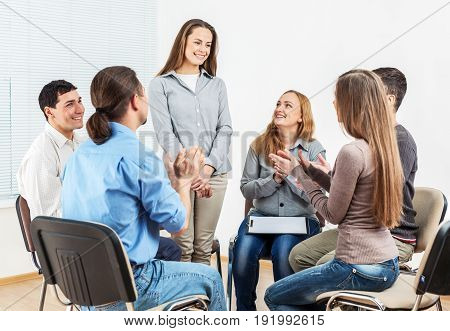Group support horizontal sitting people caucasian health