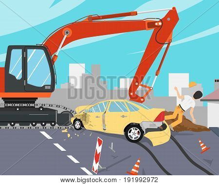 The driver did not see the sign on the road and did not have time to slow down and shot down the worker. Roadwork. Vector illustration
