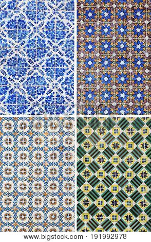 Collage of different traditional pattern tiles in Lisbon Portugal