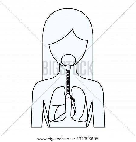sketch silhouette of half body female person with respiratory system vector illustration