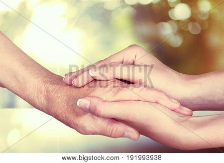 Young old hands human love female adult