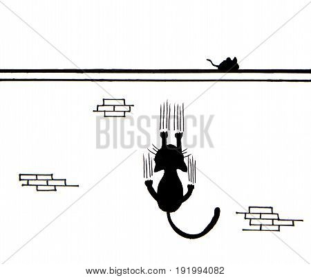 Hand drawn of Black cat scratching wall and a mouse on wall