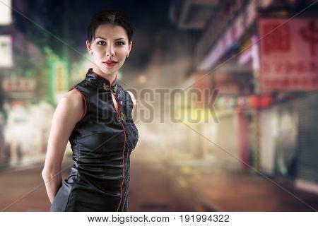 Woman Portrait In Night City