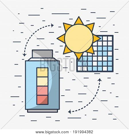 solar energy with electric battery loaded vector illustration