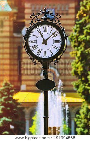 Big Clock on the Street of Timisoara Romania