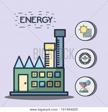 factory with solar energy and trees hourglass symbols vector illustration