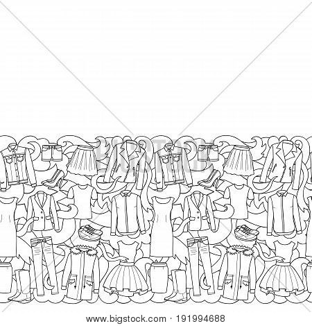 Seamless border of hand drawn woman clothes and shoes on abstract wave background. Black and white wallpaper for coloring books.