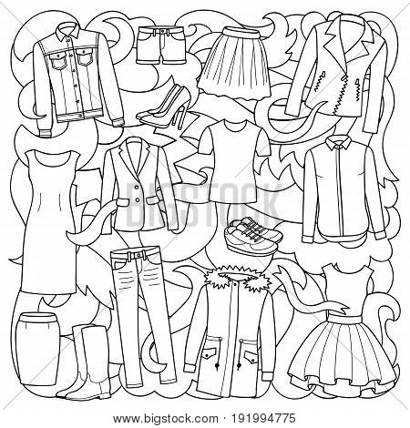 Vector illustration of hand drawn woman clothes and shoes on abstract wave background. Black and white pattern for coloring books.