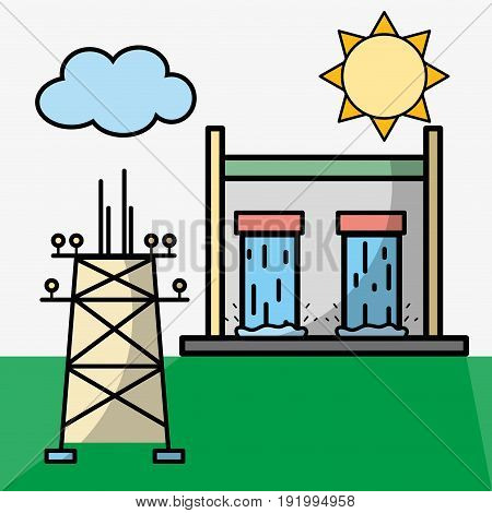 tanks hydraulic energy and energy tower vector illustration