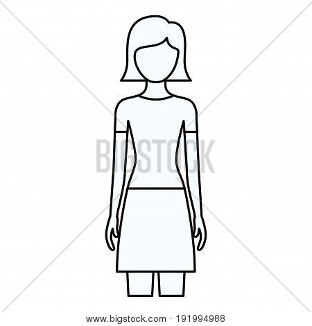 sketch silhouette of faceless front view woman with skirt and short straight hairstyle vector illustration