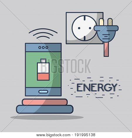 smartphone with battery low and energy cable vector illustration