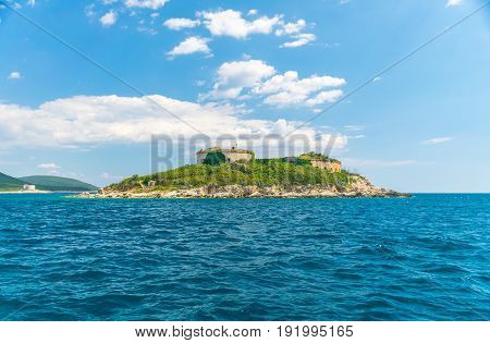 Ancient Fortress Is Located On The Island Of Mamula. Boka-kotor Bay. Montenegro.