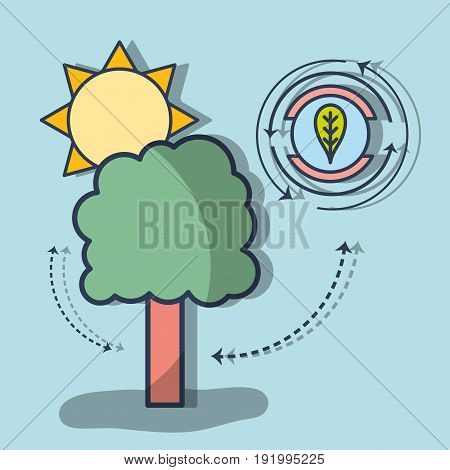 tree with leaf symbol to ecological conservation vector illustration