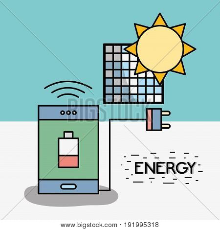 smartphone with low battery and power cable to solar energy vector illustration