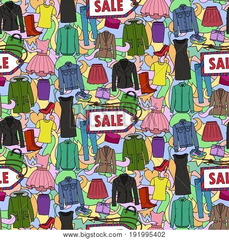 Seamless pattern of hand drawn woman clothes, shoes and bags on abstract wave background. Sale wallpaper for fliers, posters, covers.