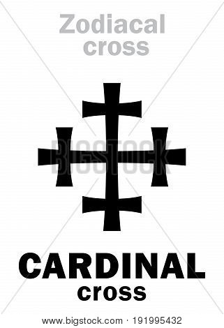 Astrology Alphabet: Zodiacal CARDINAL cross. Hieroglyphics character sign (single symbol).