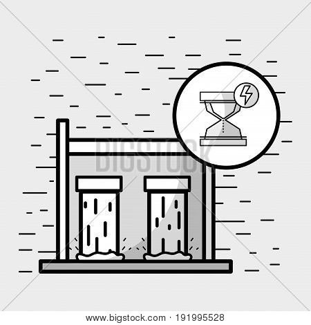 tanks to hydraulic energy with hourglass symbol vector illustration