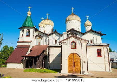 The ancient church of St. Philip the Apostle and St. Nicholas in Veliky Novgorod Russia architecture view in sunny day.Architecture view.