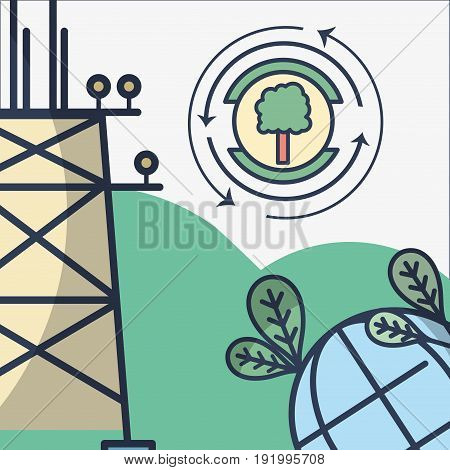 energy tower and planet with leaves and tree symbol vector illustration
