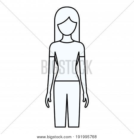 sketch silhouette of faceless front view woman with long hair vector illustration