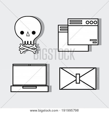 set technology skull with bones and computer elements vector illustration
