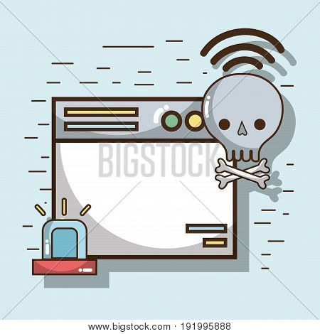 technology window and skull bones with wifi connection vetor illustration