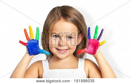 Colorful girl little hands painted elementary age well being
