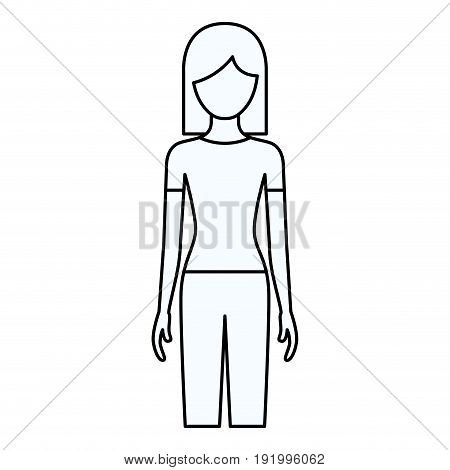 sketch silhouette of faceless front view woman with pants and short hair vector illustration
