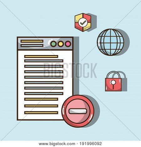 technology window with electronics elements icons vector illustration