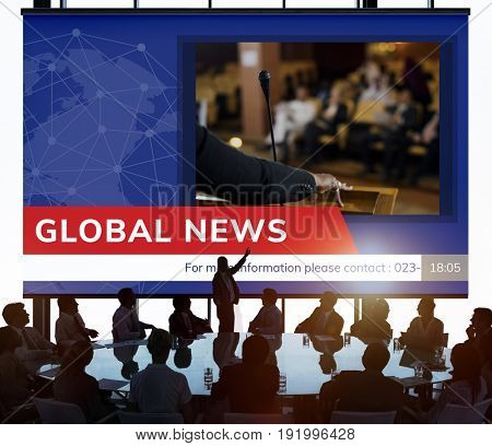People with graphic of global hot news in special report