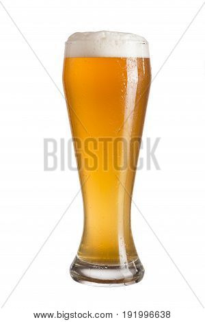 Frosty glass of cold unfiltered wheat beer isolated on white background