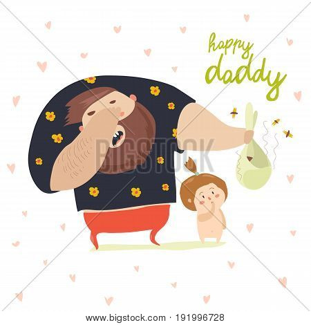 Funny dad changing diaper baby. Vector illustration