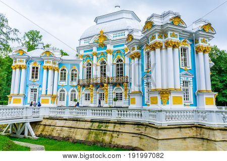RUSSIA Tsarskoe Selo - JULY 20 2013. The Hermitage in Tsarskoye Selo