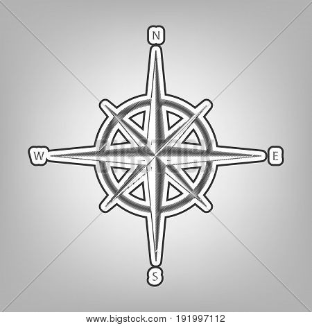 Wind rose sign. Vector. Pencil sketch imitation. Dark gray scribble icon with dark gray outer contour at gray background.