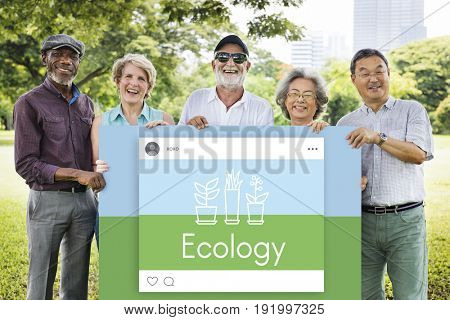 Senior people holding network graphic overlay billboard