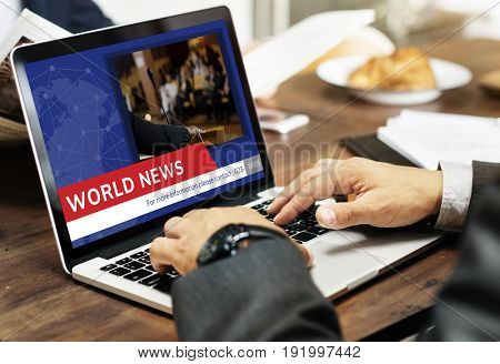 Graphic of global hot news in special report on laptop