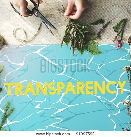 Transparency word clear glassy water
