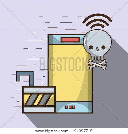 smartphone and skull with bones and wifi with padlock services vector illustration