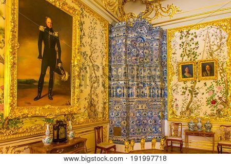 RUSSIA Tsarskoe Selo - JULY 20 2013. Chinese drawing-room of Alexander I