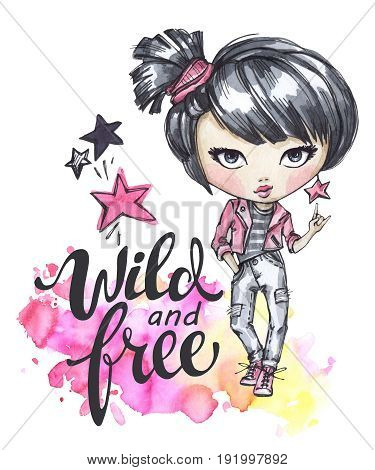Hand drawn bright illustration. Watercolor card with rocker girl. Calligraphy words Wild and Free. Teenagers. Have fun. Perfect for blogs, lettering, pattern, invitation, t-shirt, print.