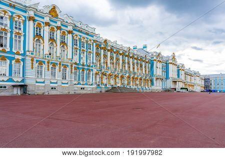 RUSSIA Tsarskoe Selo - JULY 20 2013. Catherine Palace in Tsarskoe Selo in St. Petersburg