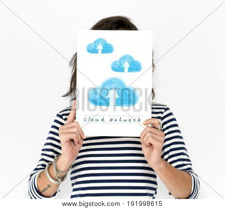 Woman holding placard with cloud computing icons
