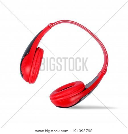 Musical equipment - Red headphone on a white background.